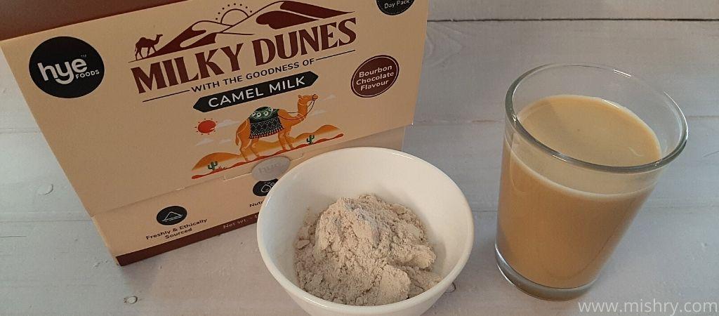 मिल्की डियून्स कैमल मिल्क पाउडर बोरबन चॉकलेट फ्लेवर - गर्म पानी में मिलाने के बाद