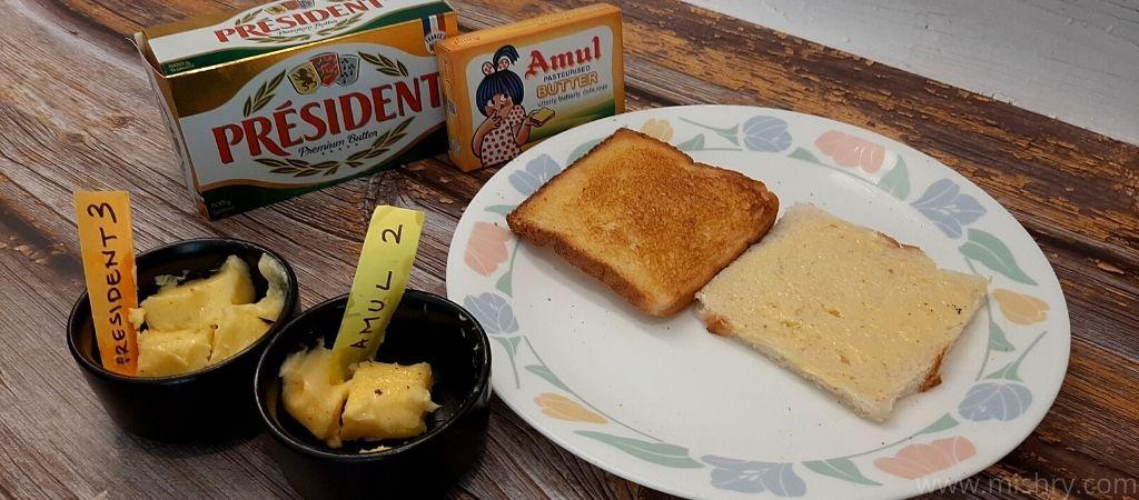 स्टेज 3 - सभी ब्रांड के बटर गर्म टोस्ट पर टेस्ट करते समय